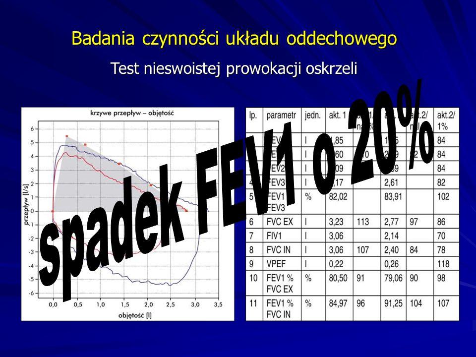 spadek FEV1 o 20% Badania czynności układu oddechowego