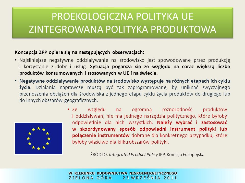 PROEKOLOGICZNA POLITYKA UE ZINTEGROWANA POLITYKA PRODUKTOWA