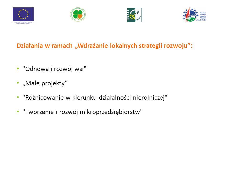 """Działania w ramach """"Wdrażanie lokalnych strategii rozwoju :"""