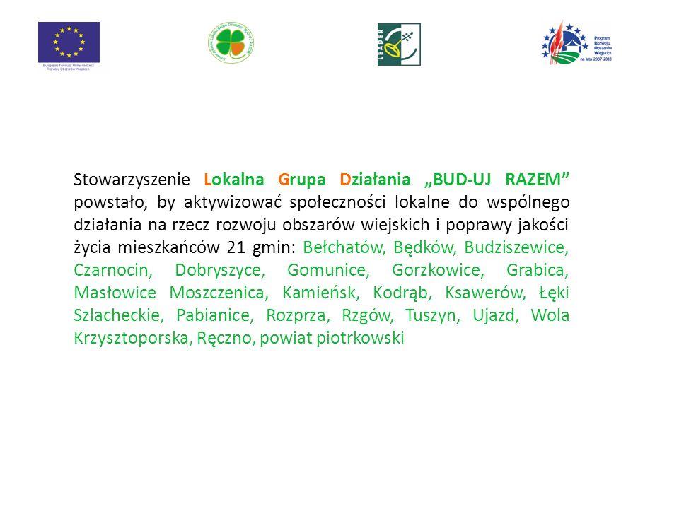 """Stowarzyszenie Lokalna Grupa Działania """"BUD-UJ RAZEM powstało, by aktywizować społeczności lokalne do wspólnego działania na rzecz rozwoju obszarów wiejskich i poprawy jakości życia mieszkańców 21 gmin: Bełchatów, Będków, Budziszewice, Czarnocin, Dobryszyce, Gomunice, Gorzkowice, Grabica, Masłowice Moszczenica, Kamieńsk, Kodrąb, Ksawerów, Łęki Szlacheckie, Pabianice, Rozprza, Rzgów, Tuszyn, Ujazd, Wola Krzysztoporska, Ręczno, powiat piotrkowski"""