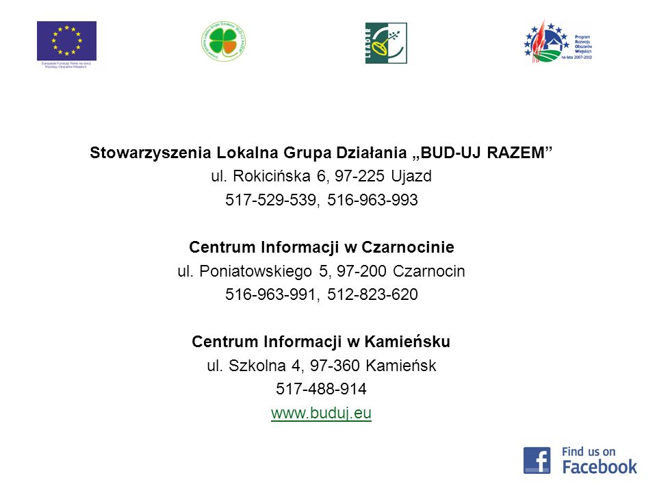 """Stowarzyszenia Lokalna Grupa Działania """"BUD-UJ RAZEM"""