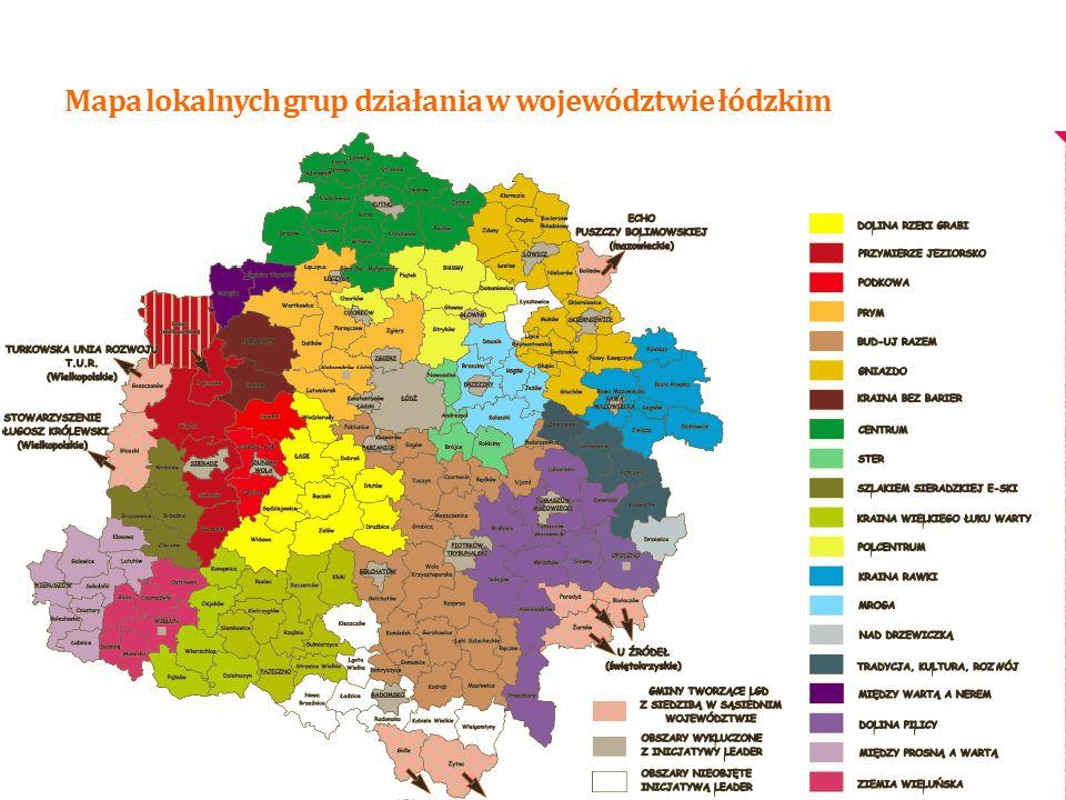 Mapa lokalnych grup działania w województwie łódzkim