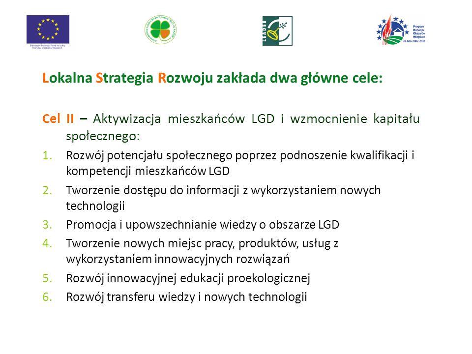 Lokalna Strategia Rozwoju zakłada dwa główne cele: