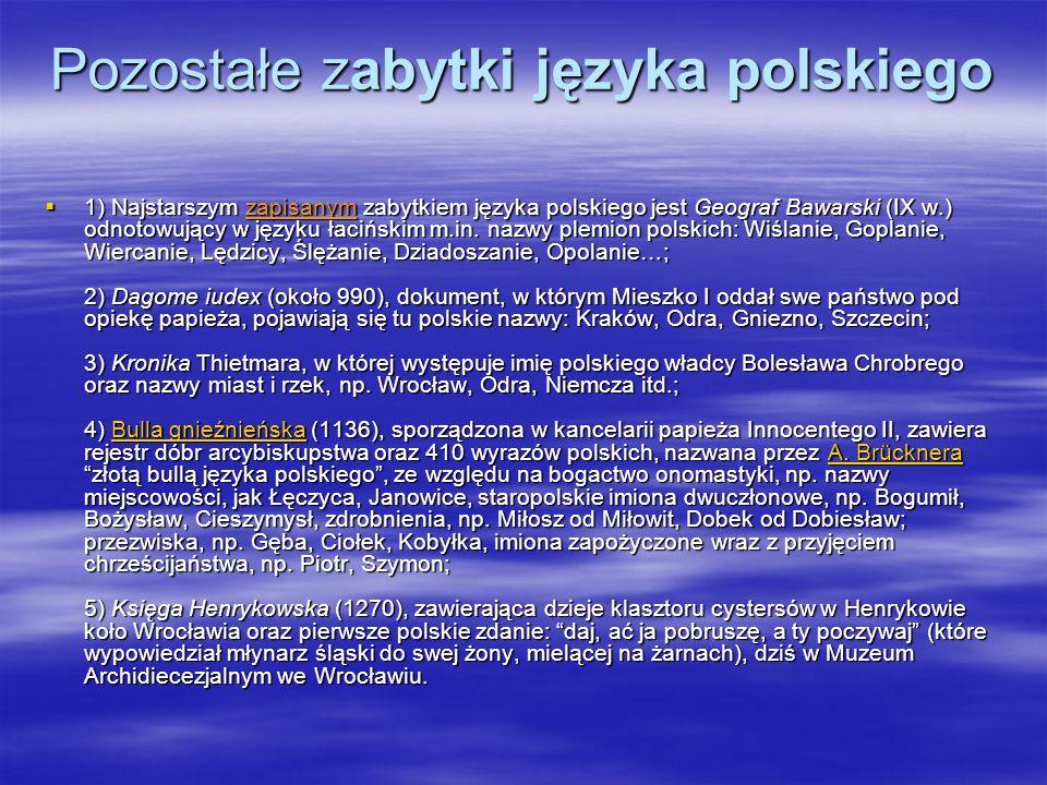 Pozostałe zabytki języka polskiego