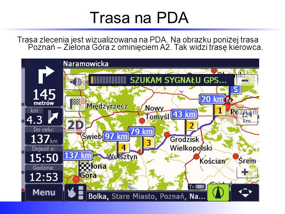 Trasa na PDA Trasa zlecenia jest wizualizowana na PDA.