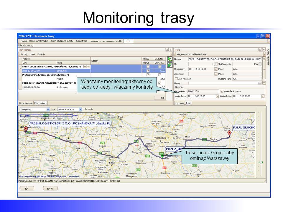 Monitoring trasy Włączamy monitoring: aktywny od kiedy do kiedy i włączamy kontrolę.
