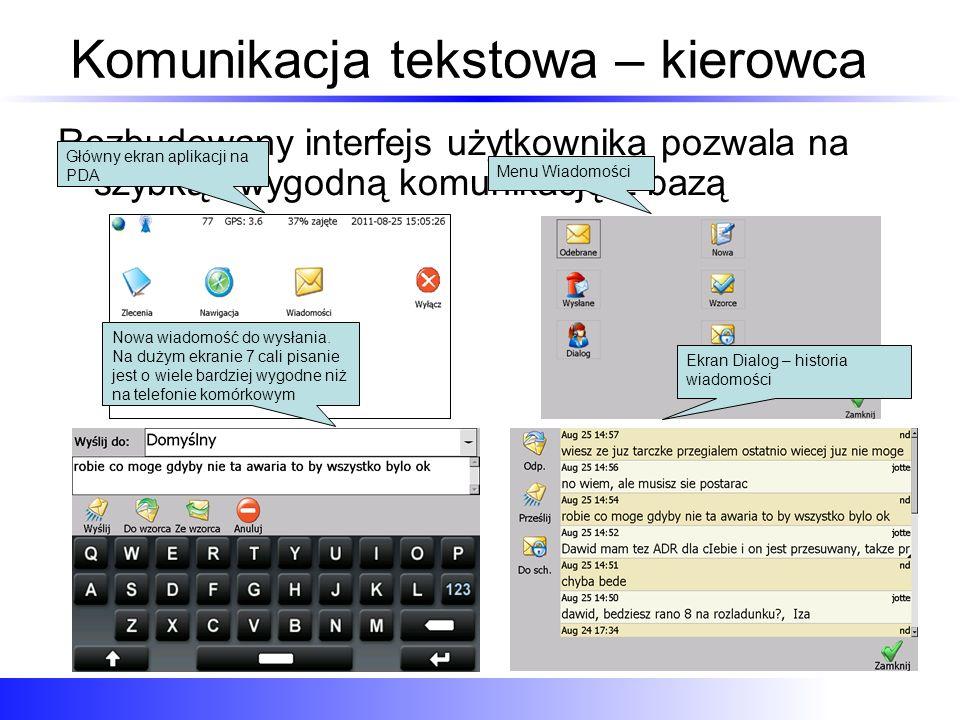 Komunikacja tekstowa – kierowca