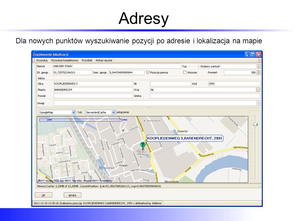 Adresy Dla nowych punktów wyszukiwanie pozycji po adresie i lokalizacja na mapie
