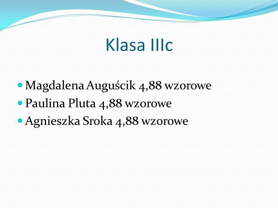 Klasa IIIc Magdalena Auguścik 4,88 wzorowe Paulina Pluta 4,88 wzorowe