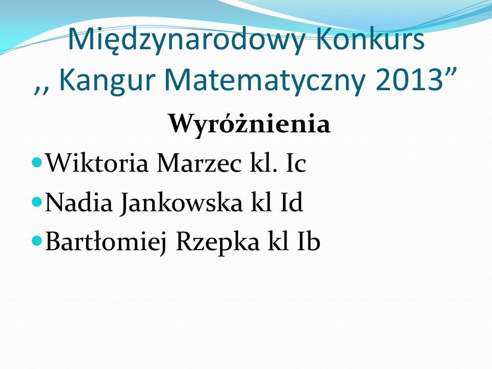 Międzynarodowy Konkurs ,, Kangur Matematyczny 2013