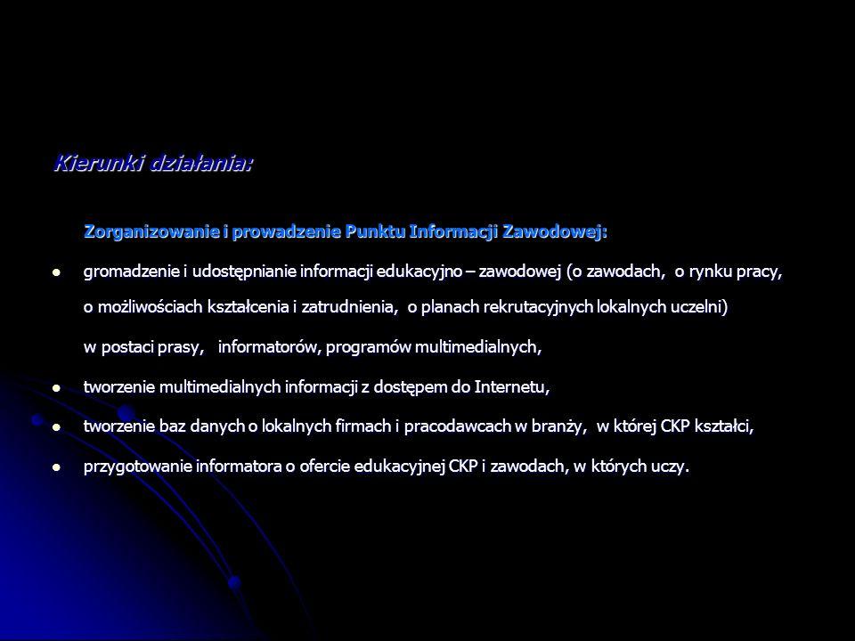 Kierunki działania: Zorganizowanie i prowadzenie Punktu Informacji Zawodowej: