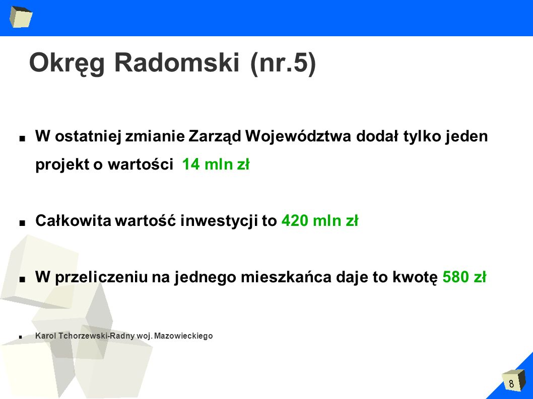 Okręg Radomski (nr.5) W ostatniej zmianie Zarząd Województwa dodał tylko jeden projekt o wartości 14 mln zł.