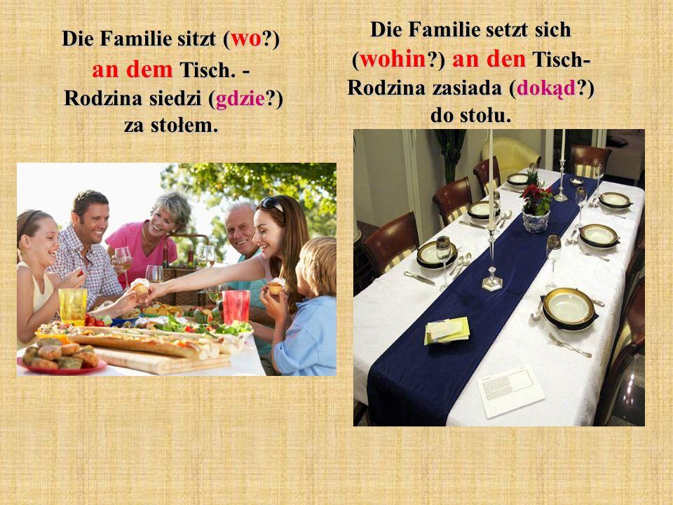 Die Familie setzt sich (wohin. ) an den Tisch- Rodzina zasiada (dokąd