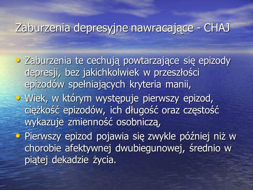 Zaburzenia depresyjne nawracające - CHAJ
