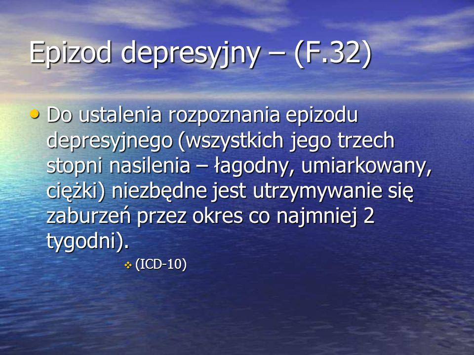 Epizod depresyjny – (F.32)