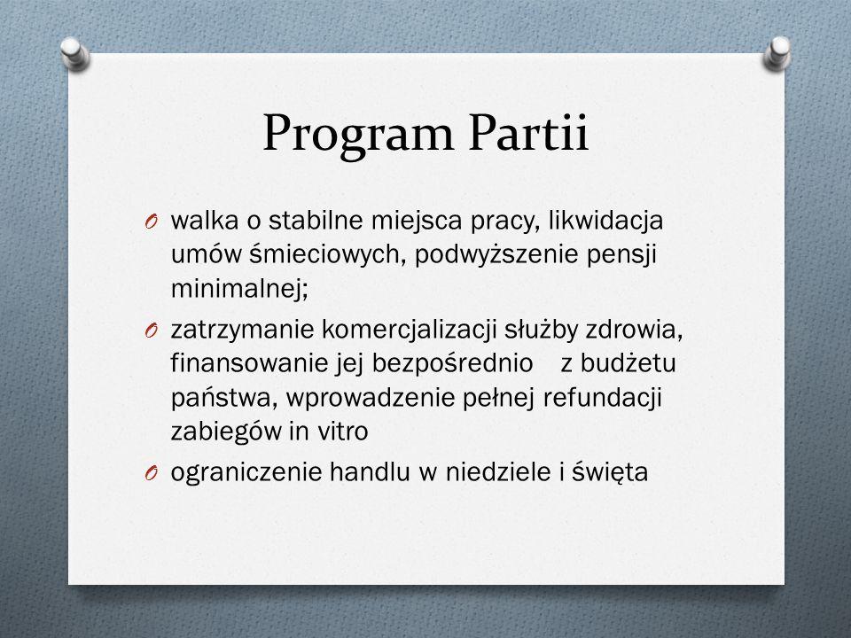 Program Partii walka o stabilne miejsca pracy, likwidacja umów śmieciowych, podwyższenie pensji minimalnej;