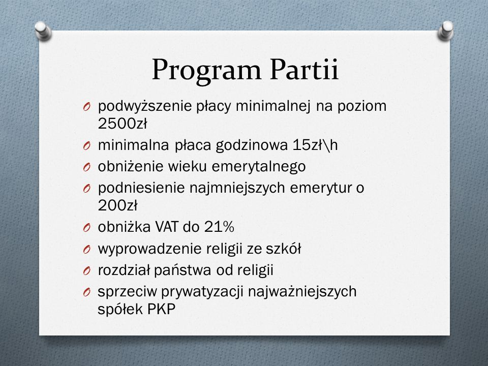 Program Partii podwyższenie płacy minimalnej na poziom 2500zł