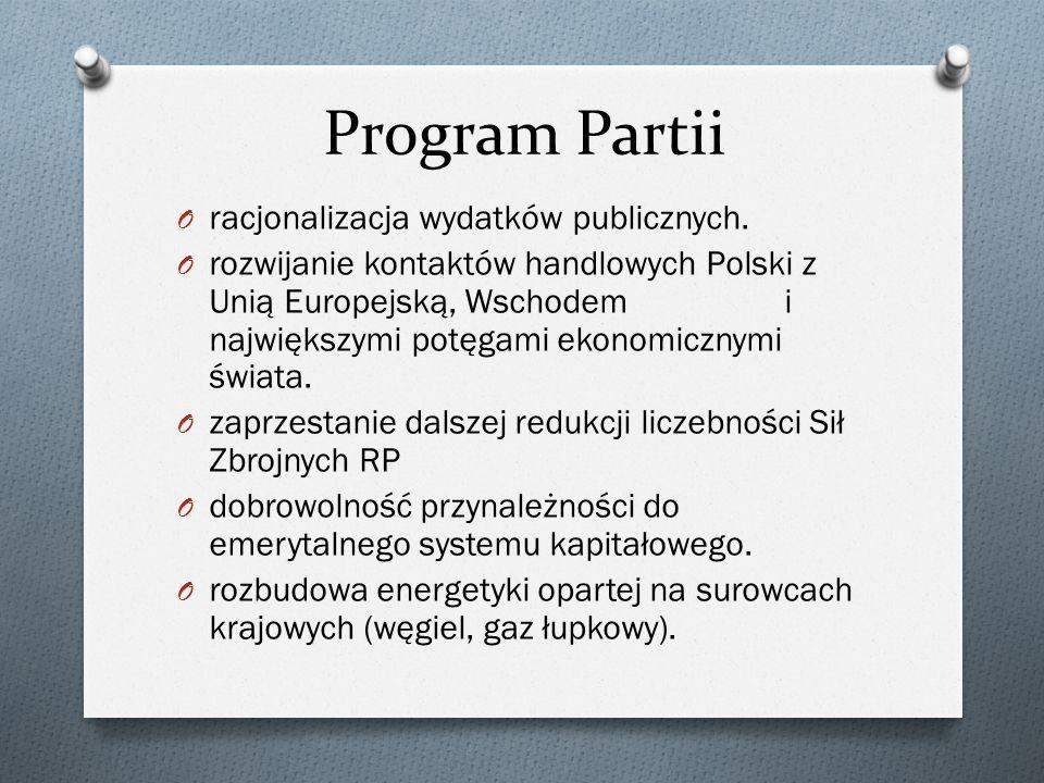 Program Partii racjonalizacja wydatków publicznych.