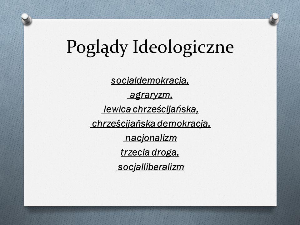 Poglądy Ideologiczne socjaldemokracja, agraryzm, lewica chrześcijańska, chrześcijańska demokracja, nacjonalizm trzecia droga, socjalliberalizm