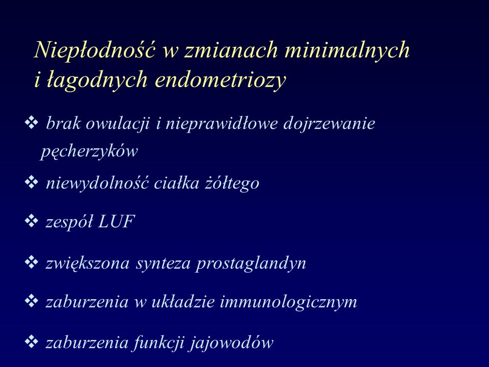 Niepłodność w zmianach minimalnych i łagodnych endometriozy