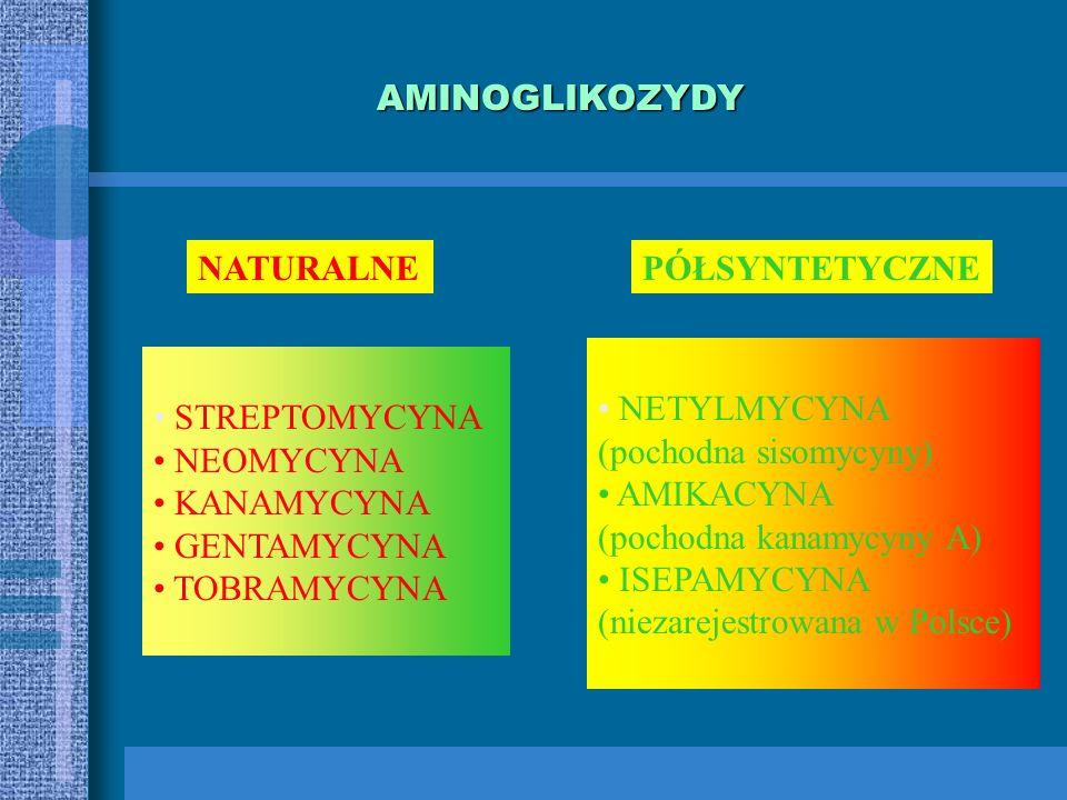 AMINOGLIKOZYDY NATURALNE. PÓŁSYNTETYCZNE. NETYLMYCYNA. (pochodna sisomycyny) AMIKACYNA. (pochodna kanamycyny A)