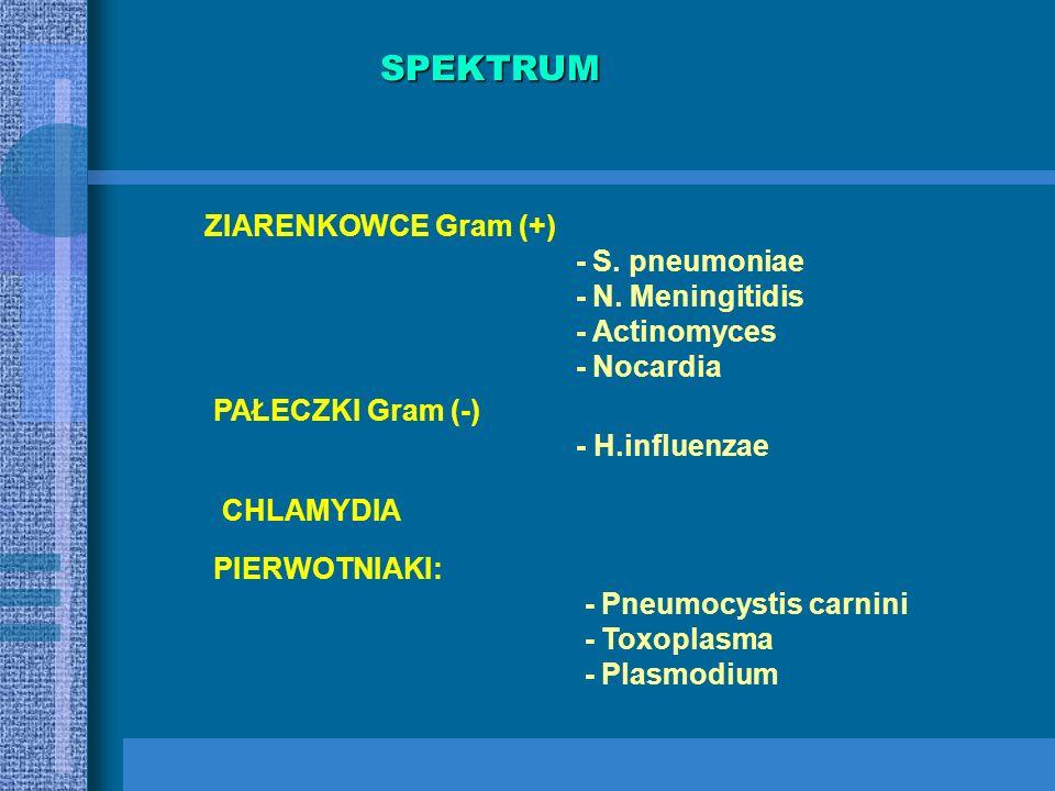SPEKTRUM ZIARENKOWCE Gram (+) - S. pneumoniae - N. Meningitidis