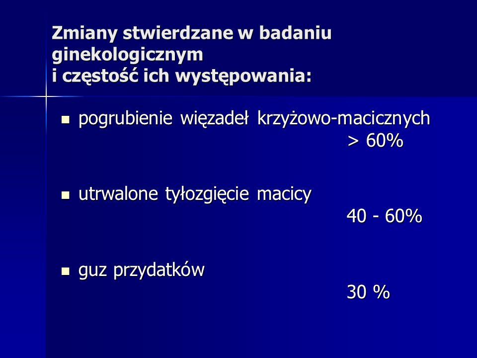 pogrubienie więzadeł krzyżowo-macicznych > 60%