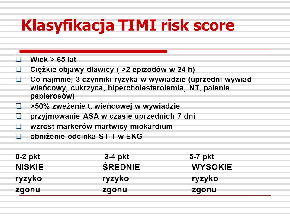 Klasyfikacja TIMI risk score