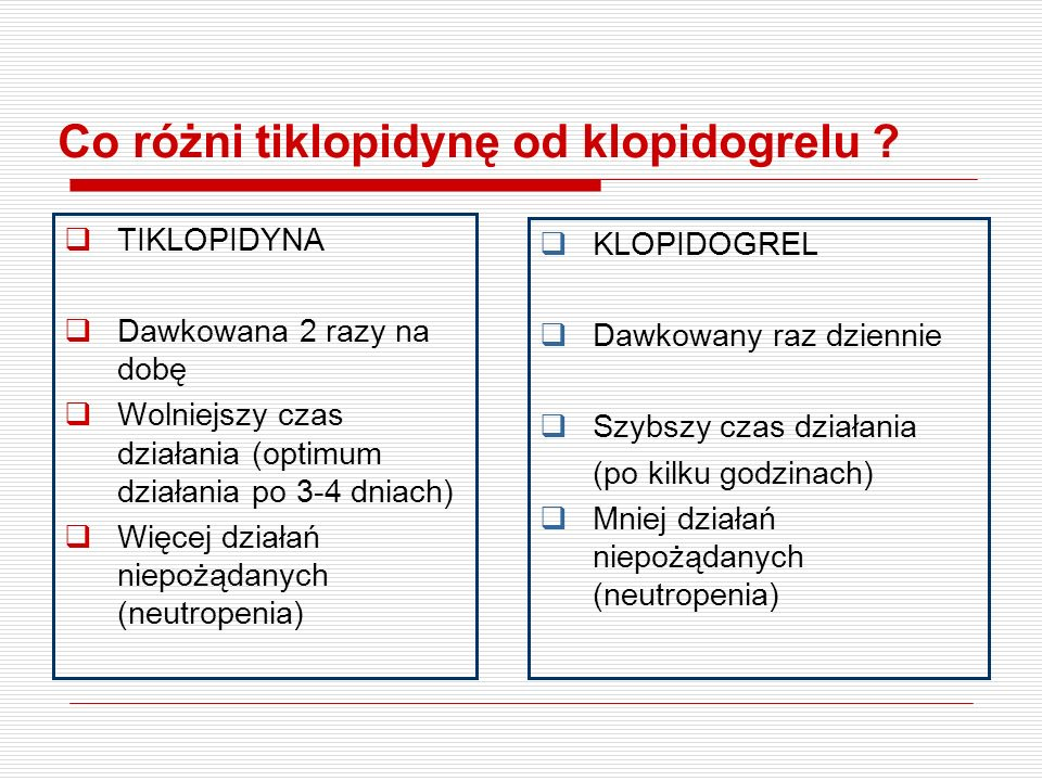 Co różni tiklopidynę od klopidogrelu