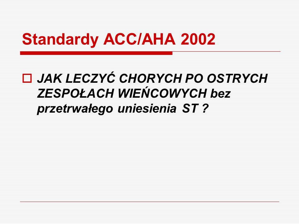Standardy ACC/AHA 2002 JAK LECZYĆ CHORYCH PO OSTRYCH ZESPOŁACH WIEŃCOWYCH bez przetrwałego uniesienia ST