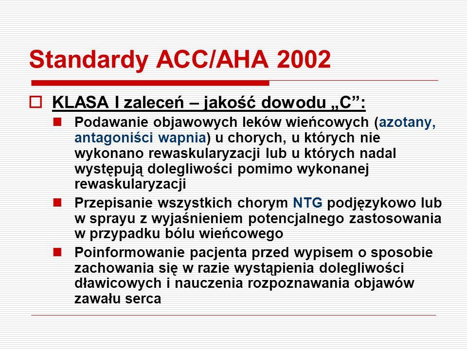"""Standardy ACC/AHA 2002 KLASA I zaleceń – jakość dowodu """"C :"""