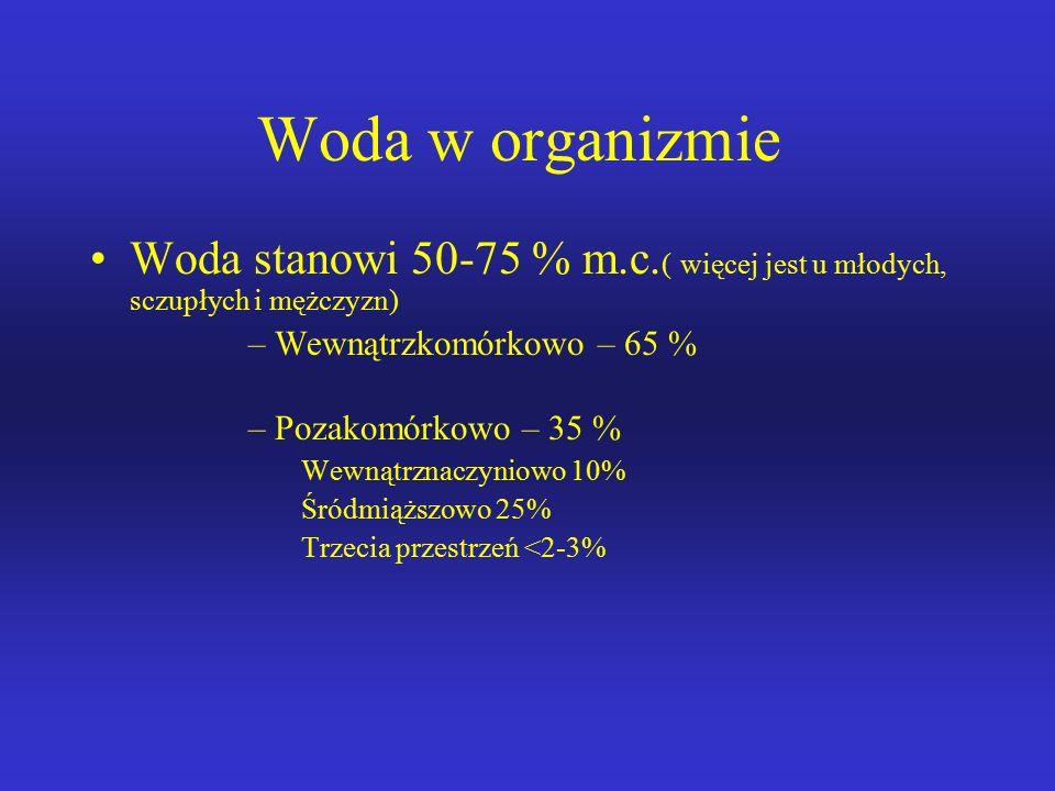 Woda w organizmie Woda stanowi 50-75 % m.c.( więcej jest u młodych, sczupłych i mężczyzn) Wewnątrzkomórkowo – 65 %