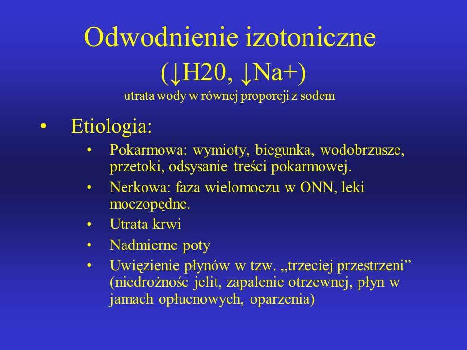 Odwodnienie izotoniczne (↓H20, ↓Na+) utrata wody w równej proporcji z sodem