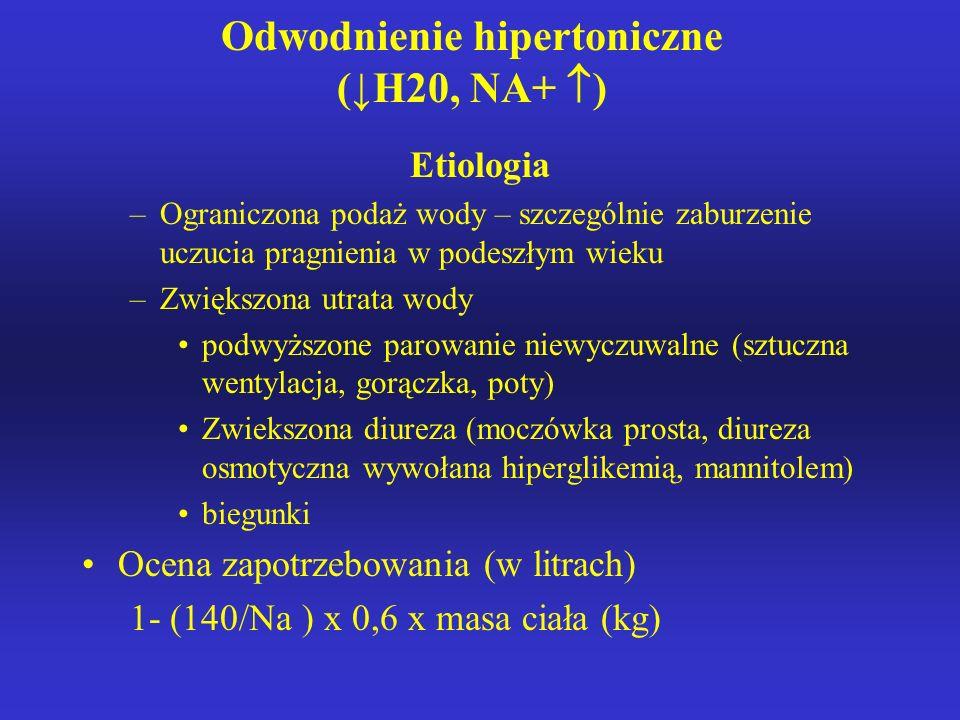Odwodnienie hipertoniczne (↓H20, NA+ )