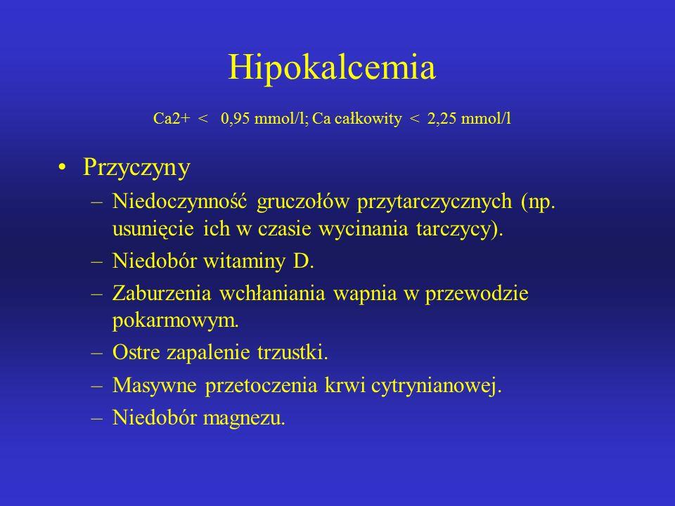 Hipokalcemia Ca2+ < 0,95 mmol/l; Ca całkowity < 2,25 mmol/l
