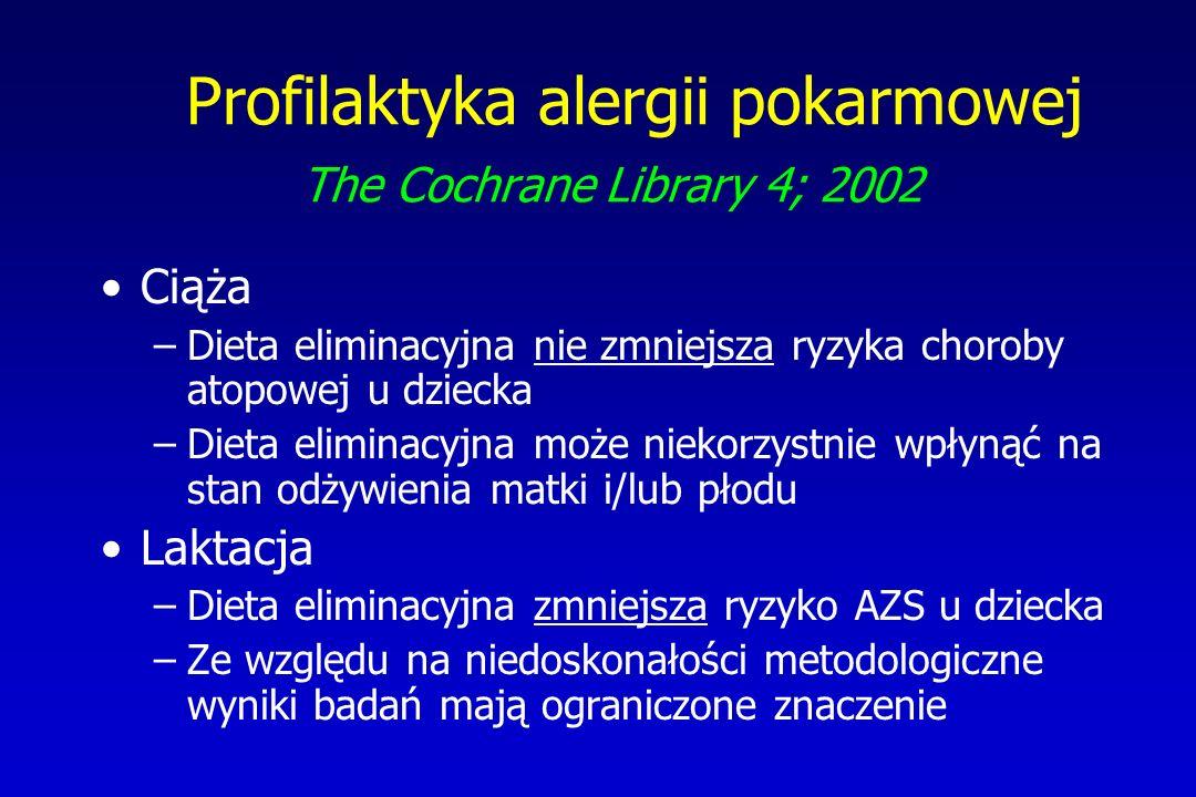 Profilaktyka alergii pokarmowej The Cochrane Library 4; 2002