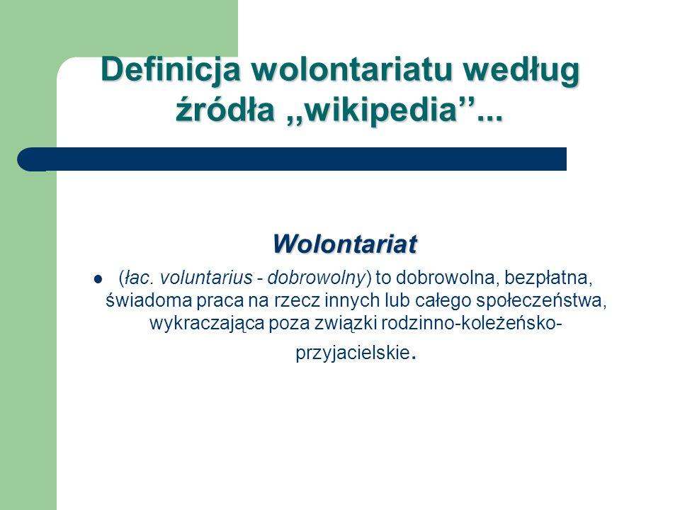 Definicja wolontariatu według źródła ,,wikipedia''...