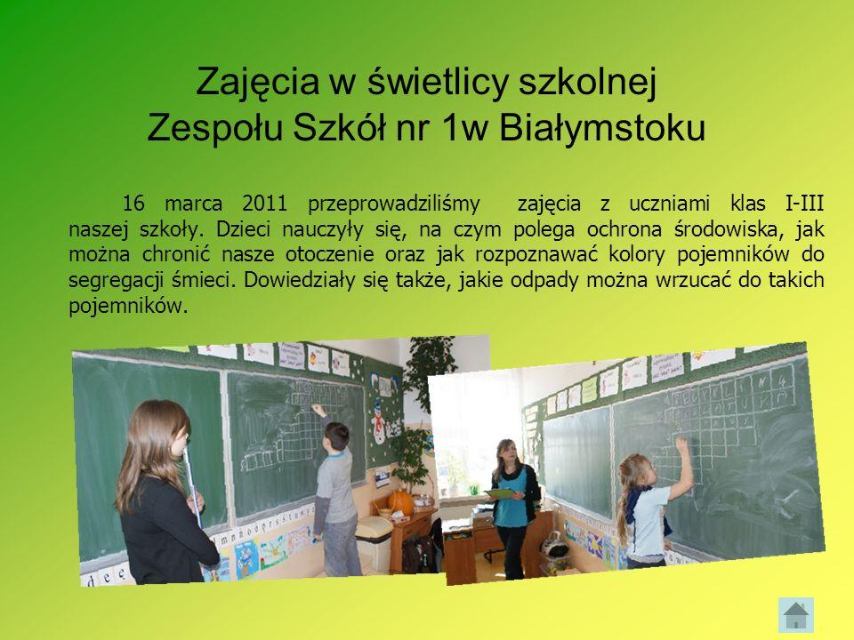 Zajęcia w świetlicy szkolnej Zespołu Szkół nr 1w Białymstoku