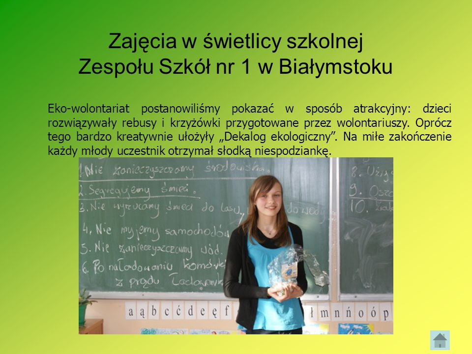 Zajęcia w świetlicy szkolnej Zespołu Szkół nr 1 w Białymstoku