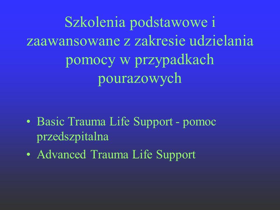 Szkolenia podstawowe i zaawansowane z zakresie udzielania pomocy w przypadkach pourazowych