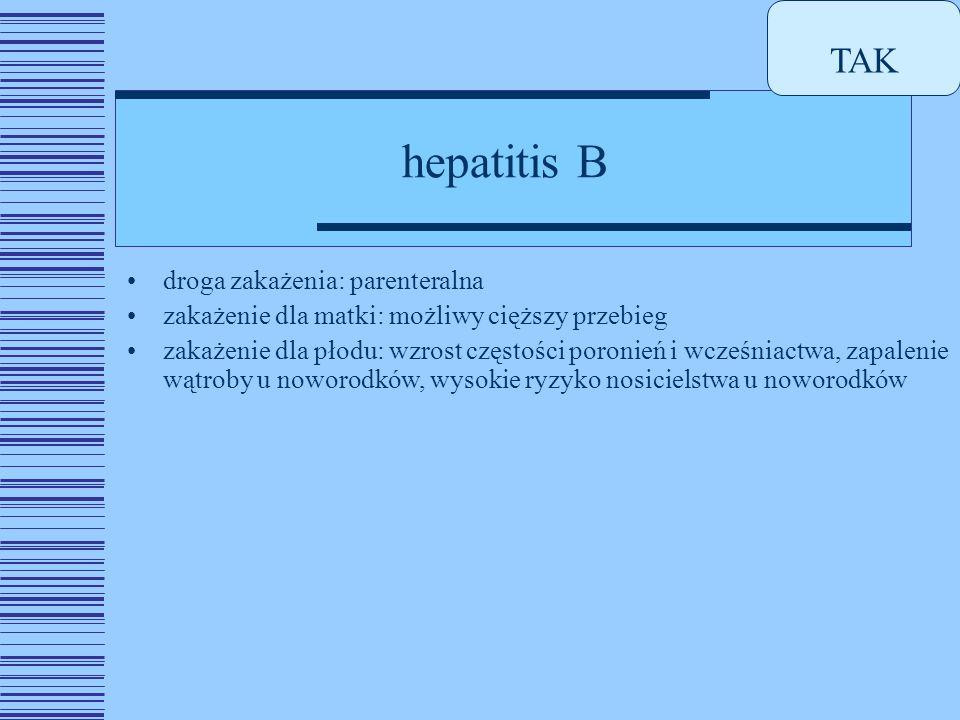TAK hepatitis B droga zakażenia: parenteralna