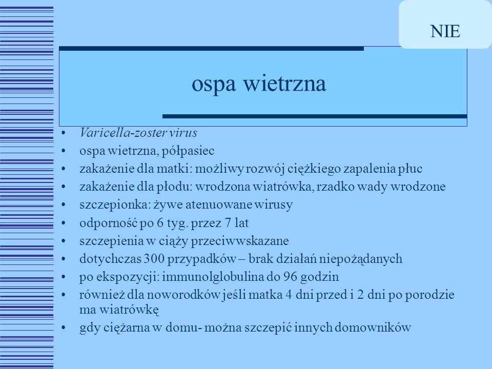 NIE ospa wietrzna Varicella-zoster virus ospa wietrzna, półpasiec