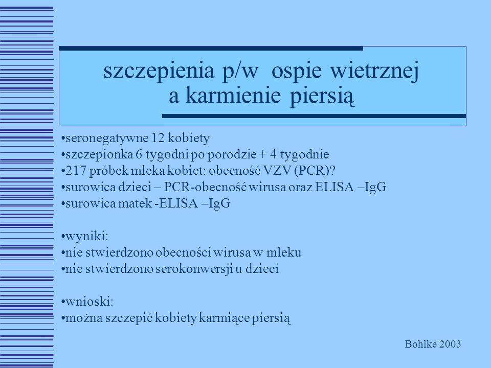 szczepienia p/w ospie wietrznej a karmienie piersią