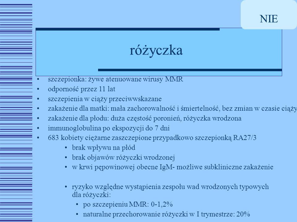 NIE różyczka szczepionka: żywe atenuowane wirusy MMR