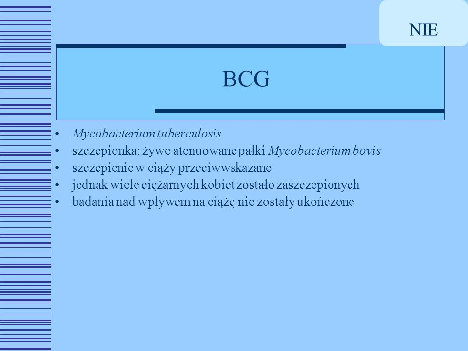 NIE BCG Mycobacterium tuberculosis