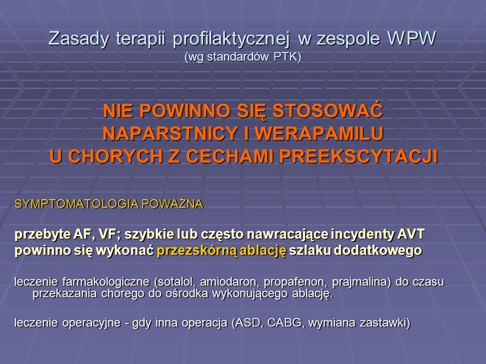Zasady terapii profilaktycznej w zespole WPW (wg standardów PTK)