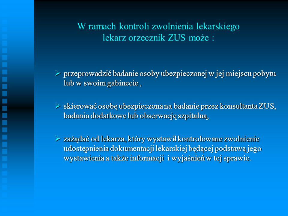 W ramach kontroli zwolnienia lekarskiego lekarz orzecznik ZUS może :