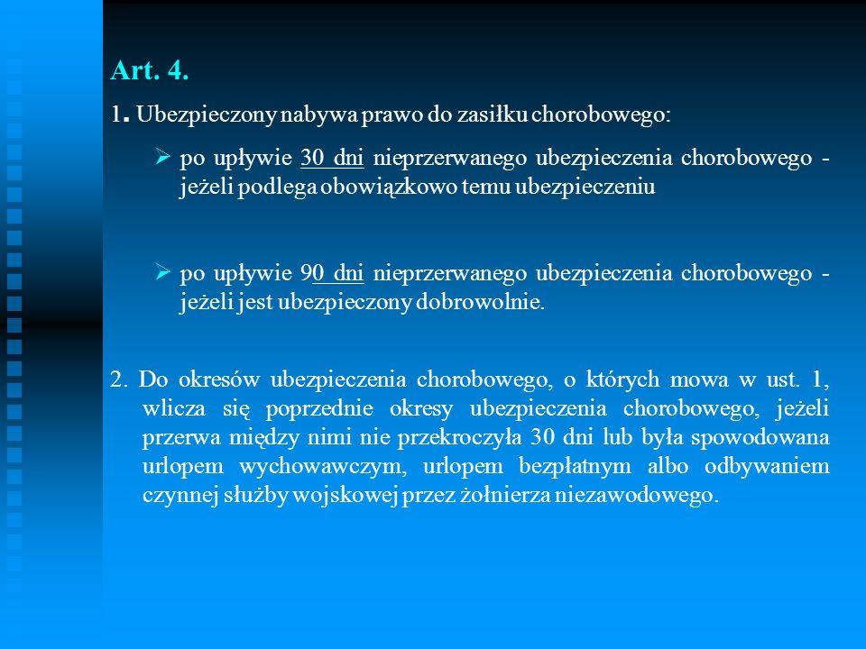 Art. 4. 1. Ubezpieczony nabywa prawo do zasiłku chorobowego: