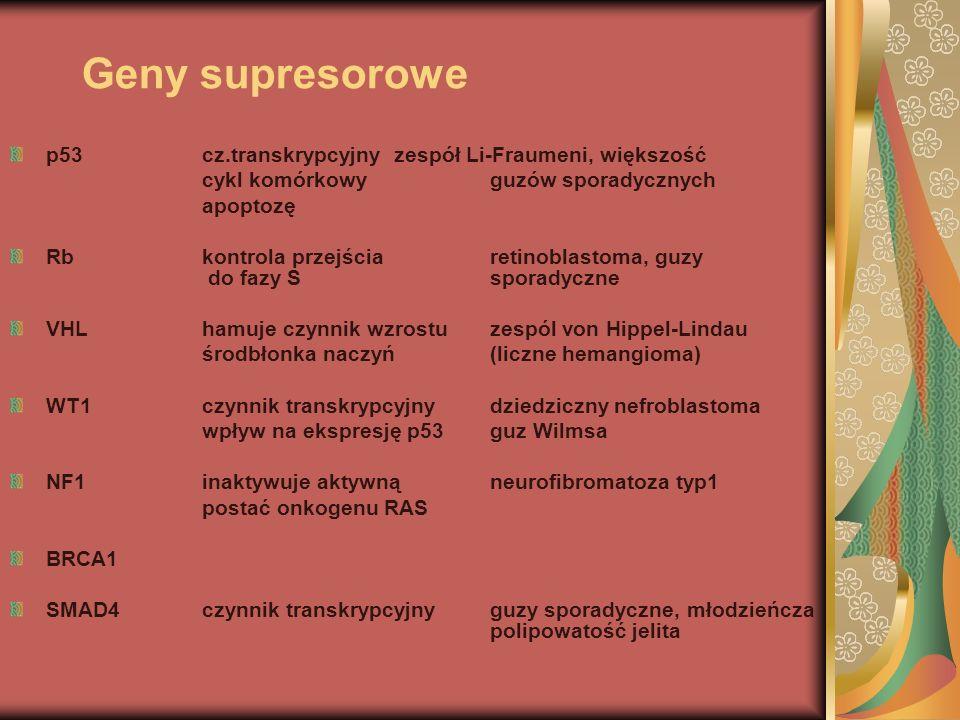 Geny supresorowe p53 cz.transkrypcyjny zespół Li-Fraumeni, większość