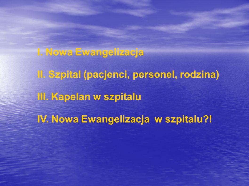 I. Nowa Ewangelizacja II. Szpital (pacjenci, personel, rodzina) III.